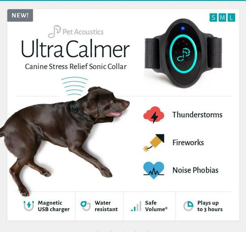 Ultra Calmer Dog sonic collar for thunderstorm noise phobia